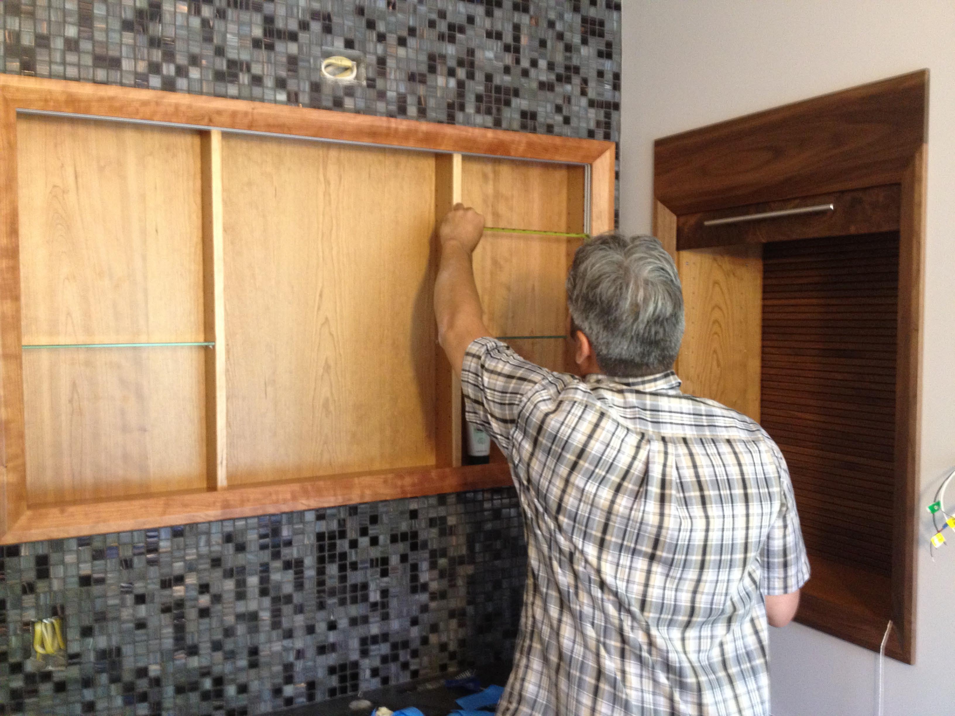 cherry medicine cabinet wglass shelves and sliding mirror doors 3