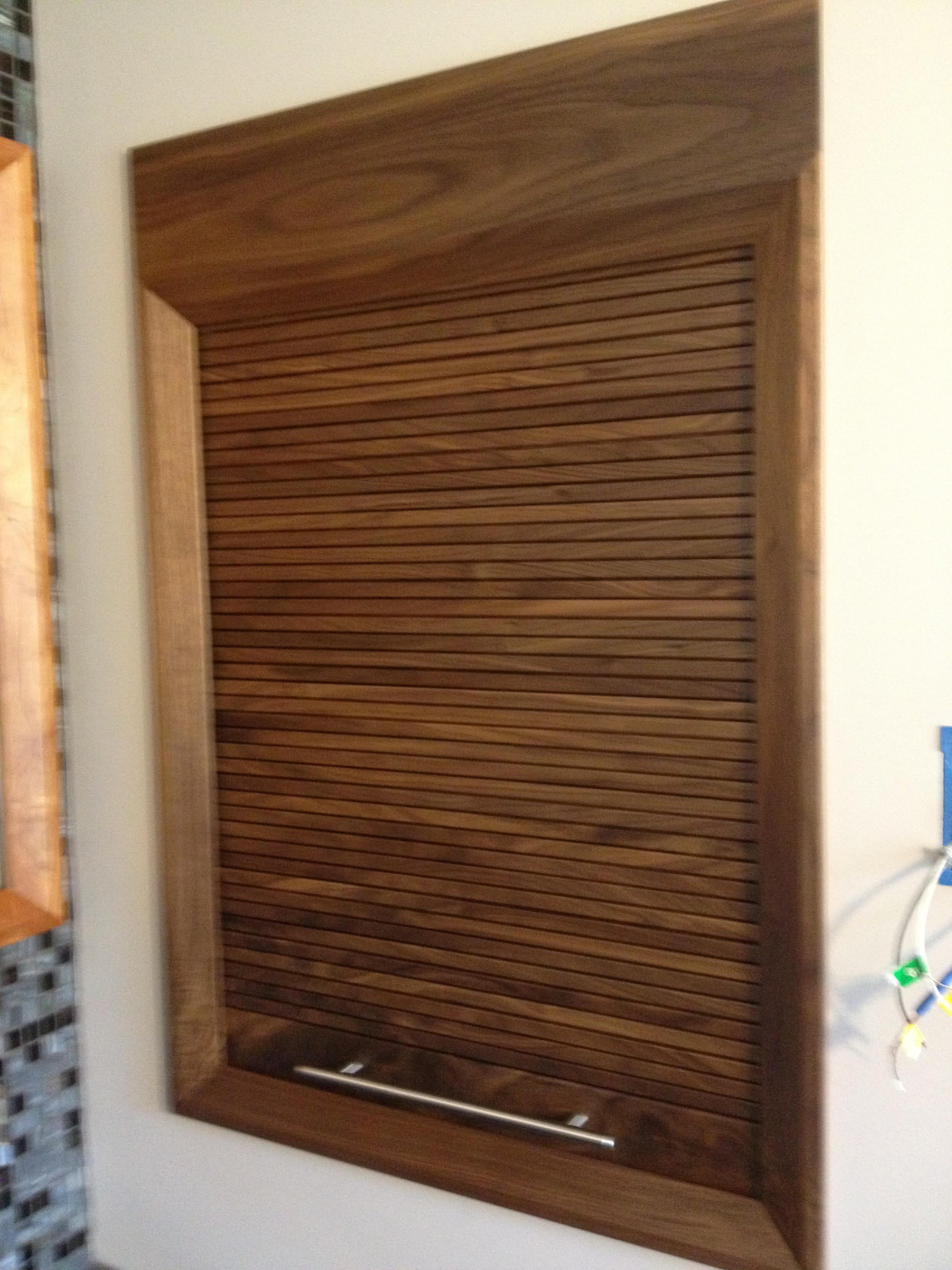 Timber veneer kitchen tambour doors tambortech - Cherry Storage Cabinet W Walnut Trim And Walnut Tambour Door